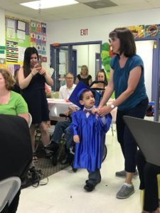 Child in graduation cap and gown