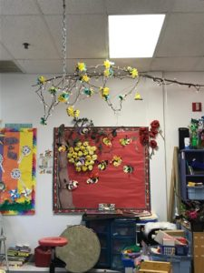 Classroom Decor of bees and a tree branch